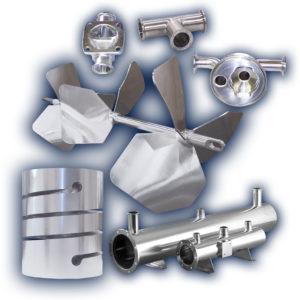 collection of electropolished items including a impeller, diaphragm valve block, fittings, filter housing base