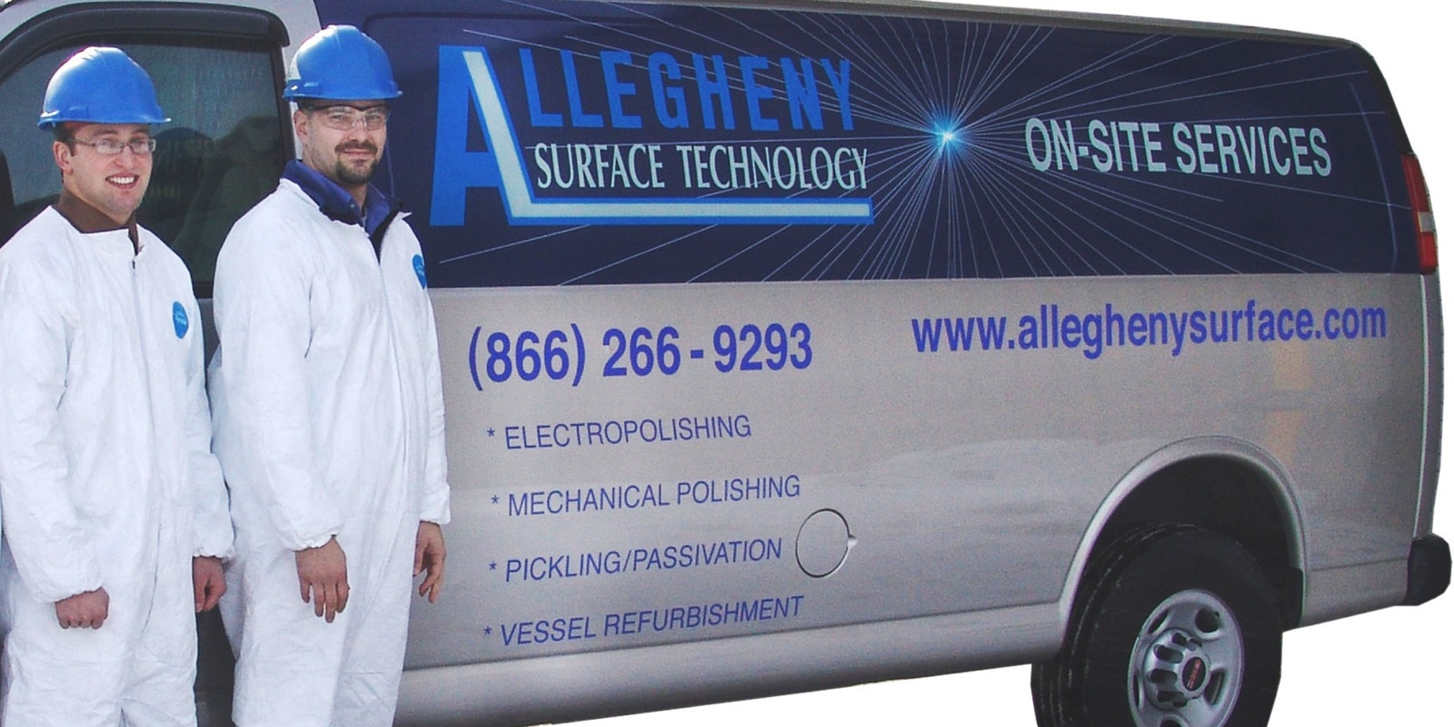 Allegheny Surface Technology technicians standing in front of a AST on-site services van.